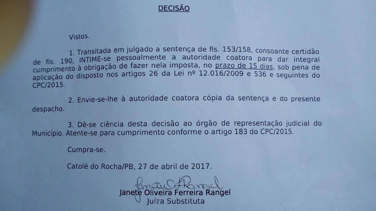 Justiça determina que prefeitura de Jericó convoque três aprovados em concurso público