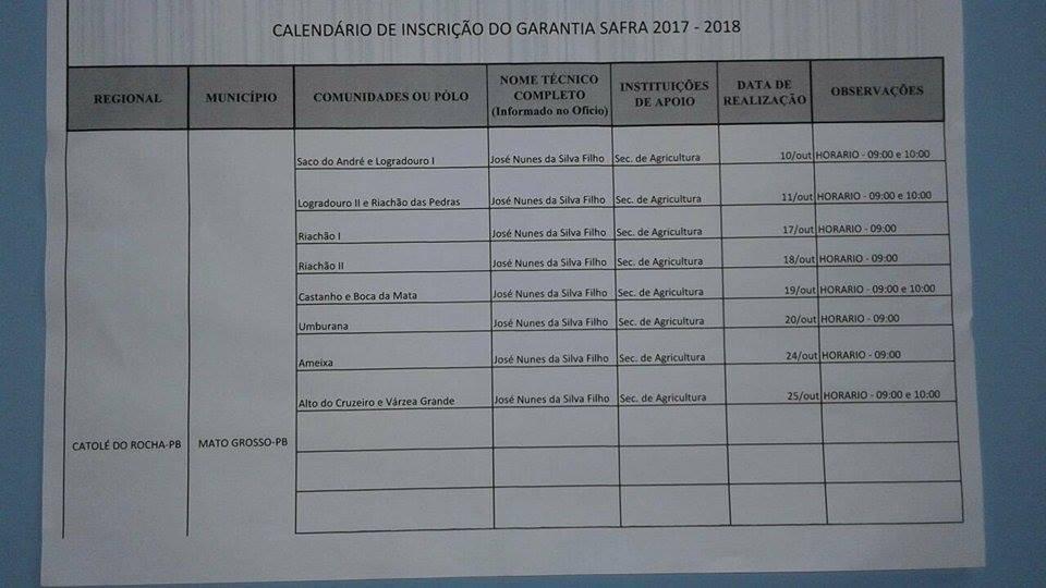 Inscrição para o Garantia Safra 2017/2018 em Mato Grosso