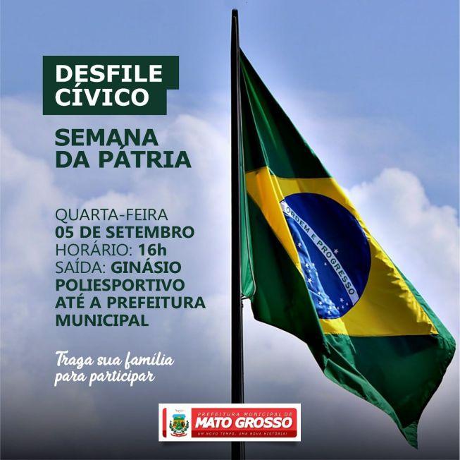 Prefeitura de Mato Grosso realiza Desfile Cívico nesta quarta-feira