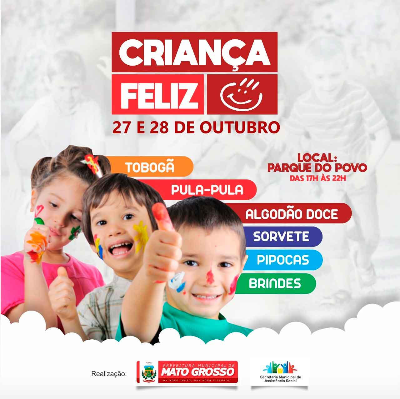 """""""Criança Feliz"""": Prefeitura de Mato Grosso promove evento gratuito no Parque do Povo"""