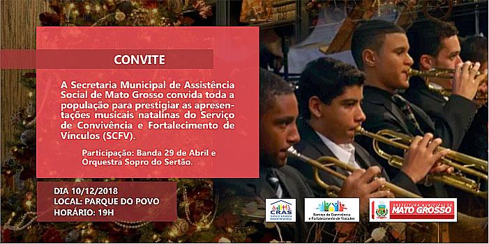 Secretaria de Assistência Social de Mato Grosso encerrará atividades de 2018 com a Orquestra Sopro do Sertão