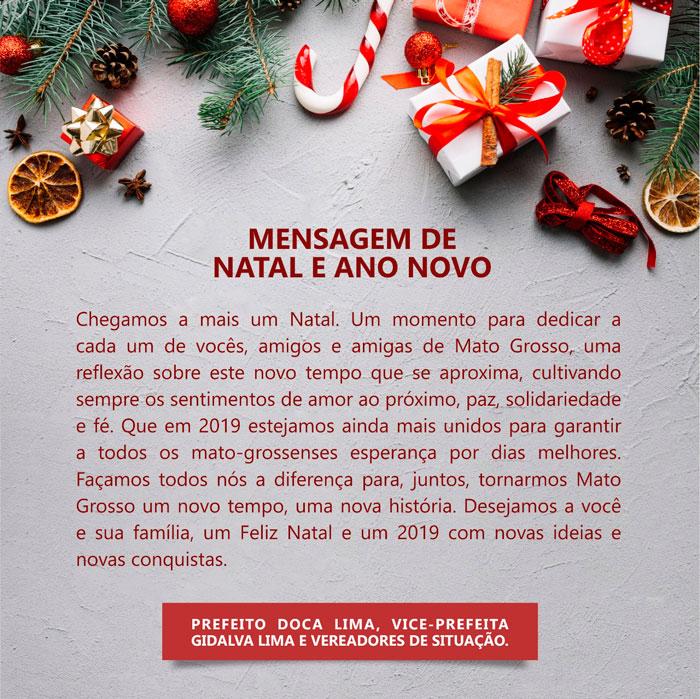 Prefeito de Mato Grosso divulga mensagem de Natal