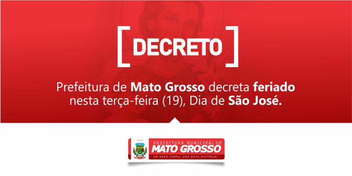 Prefeitura de Mato Grosso decreta feriado no Dia de São José
