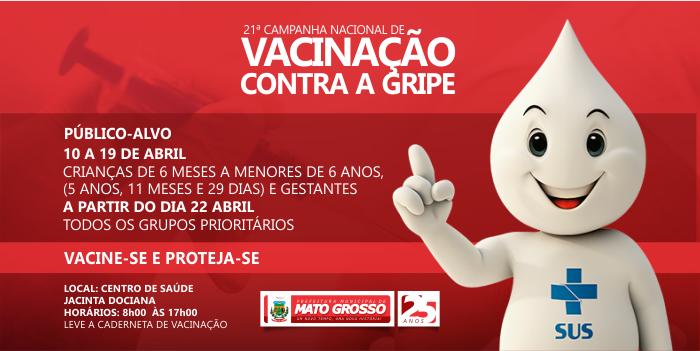 Secretaria de Saúde de Mato Grosso iniciou campanha de vacinação contra a gripe