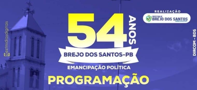 Programação das atividades do aniversário de Brejo dos Santos