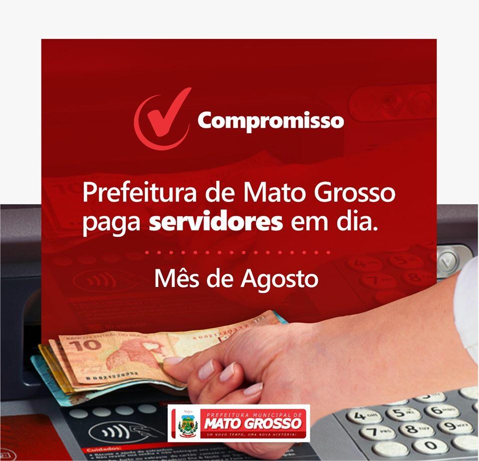 Servidores da Prefeitura de Mato Grosso recebem pagamento de agosto nesta sexta