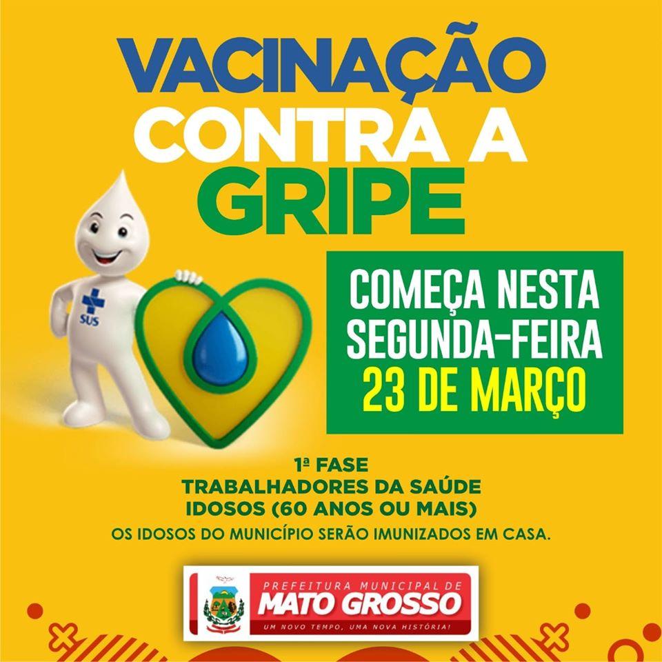 Vacinação contra a gripe para idosos em Mato Grosso