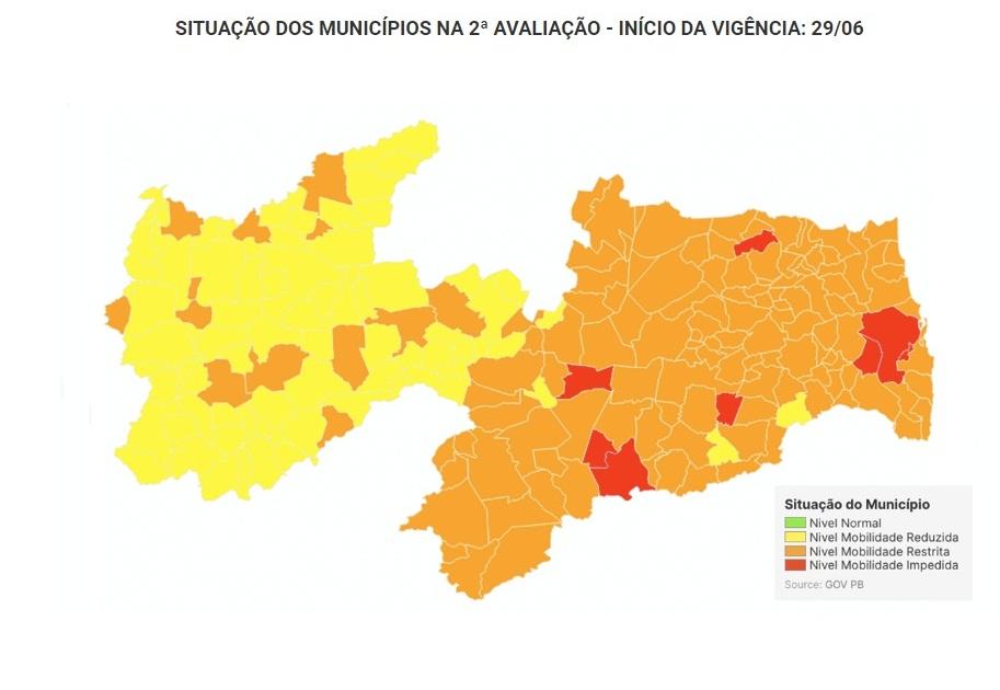 Catolé do Rocha e Mato Grosso seguem com bandeiras laranjas em medidas da Covid-19