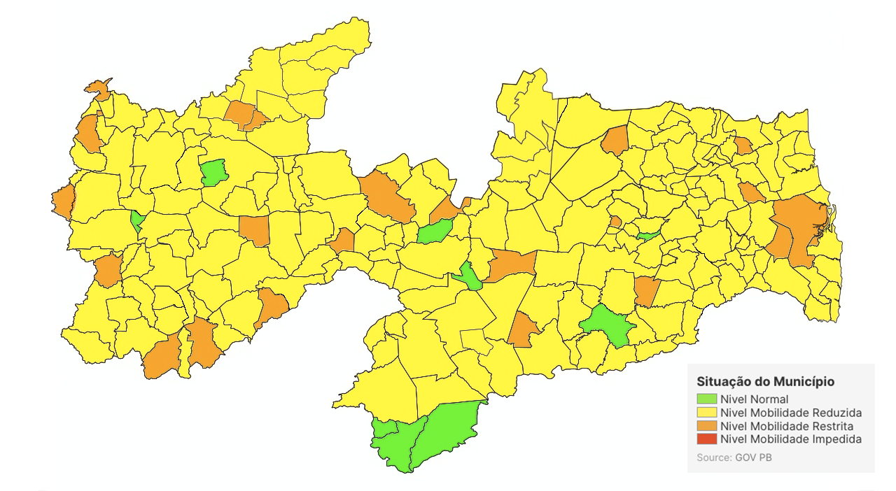 Jericó e Mato Grosso seguem com bandeira laranja, sobre medidas da Covid-19