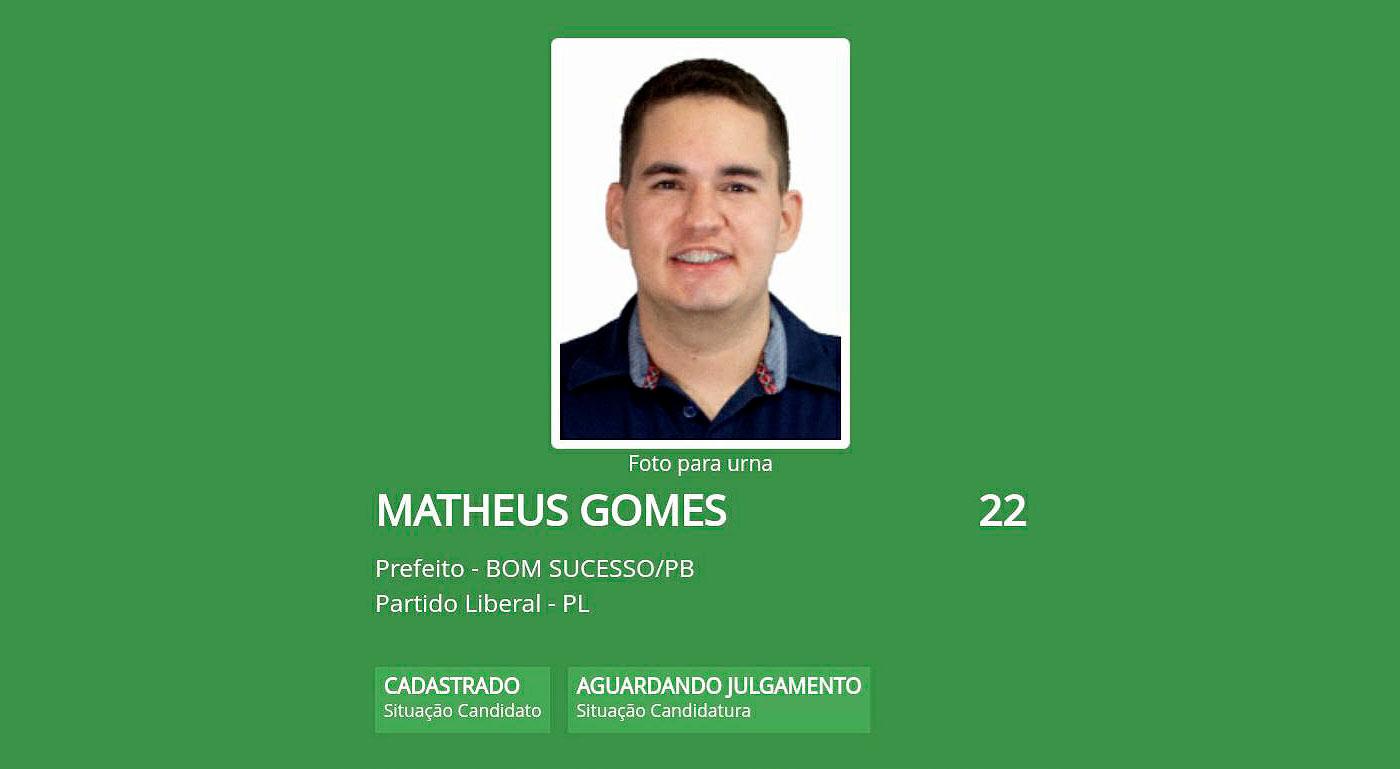 Matheus Gomes de 21 anos registra candidatura para disputar Prefeitura de Bom Sucesso