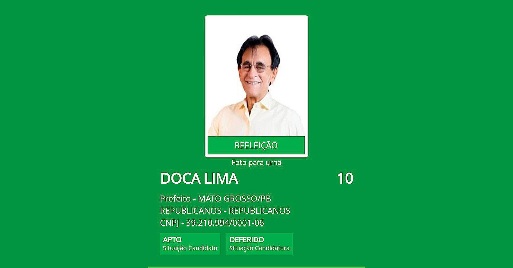 Juiz Eleitoral defere registro de candidatura de Doca Lima para prefeito de Mato Grosso