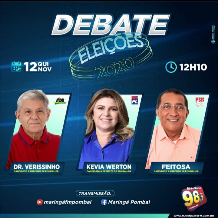 Veja ao vivo debate com candidatos a prefeito de Pombal no Blog do Genésio Oliveira