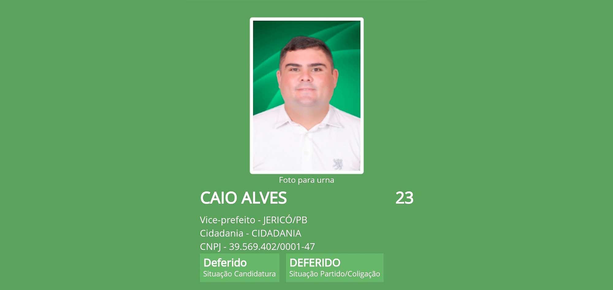 Justiça defere registro de Caio Alves, candidato a vice-prefeito de Kadson Monteiro em Jericó