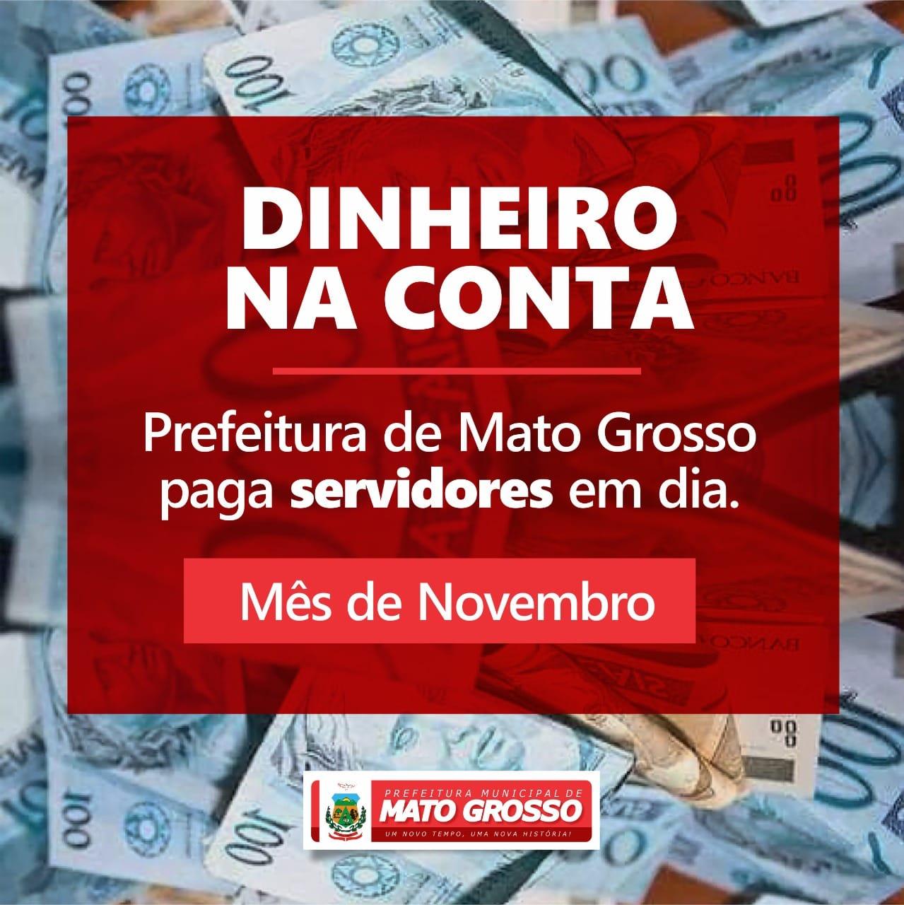 Prefeitura de Mato Grosso paga salário dos servidores nesta segunda