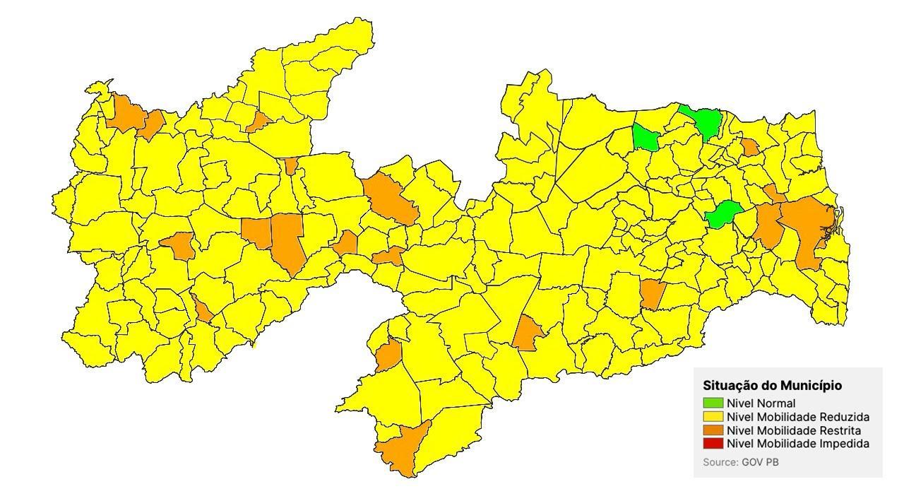 Mato Grosso é a única cidade do Médio Piranhas com bandeira laranja da Covid-19