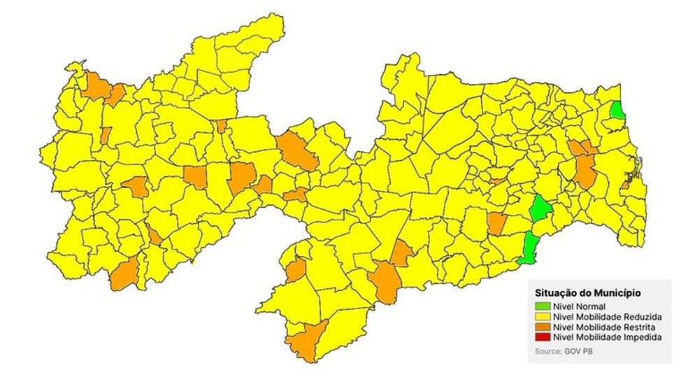 Cidades do Médio Piranhas estão com bandeira amarela da Covid-19