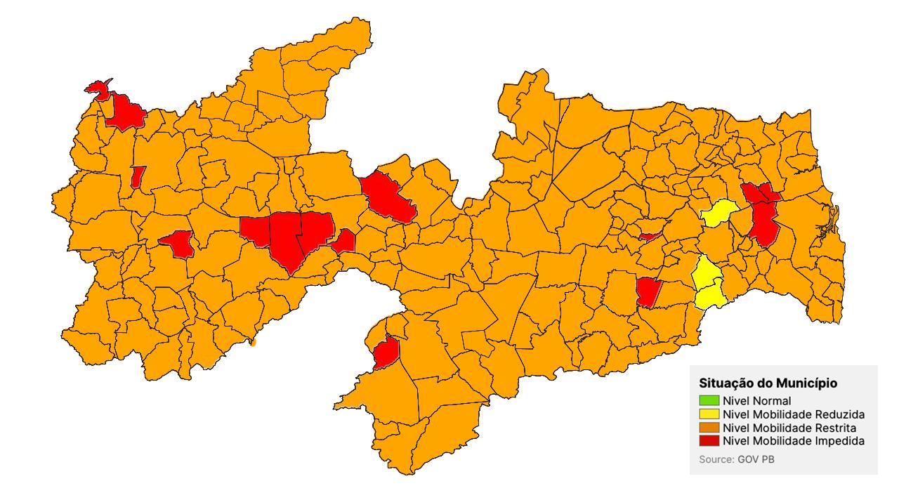 Maioria das cidades do Sertão da Paraíba estão em bandeira laranja
