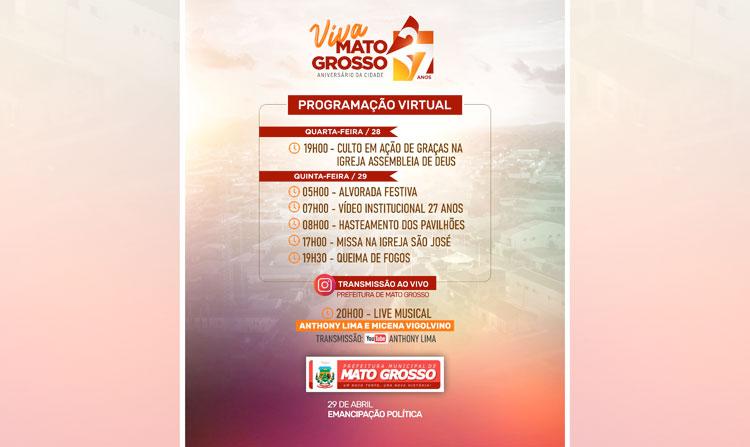 Mato Grosso comemora 27 anos com programação transmitida online nesta quinta-feira