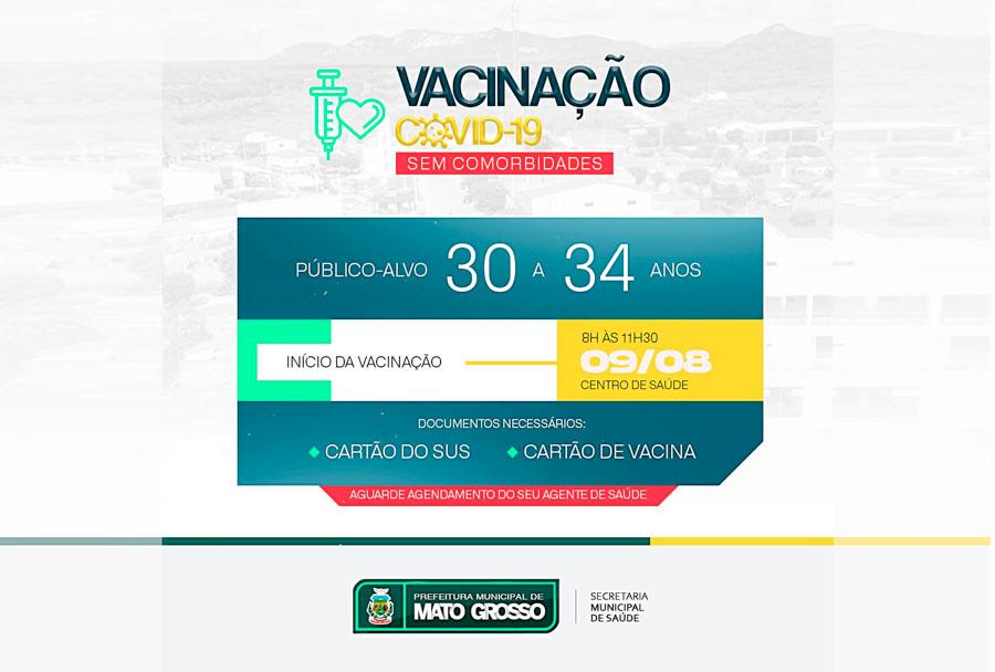 Mato Grosso inicia vacinação de pessoas com 30 anos ou mais