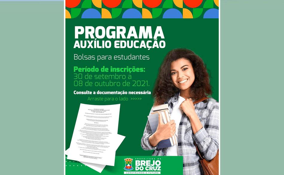 Prefeitura de Brejo do Cruz abre inscrições para Programa Auxílio Educação